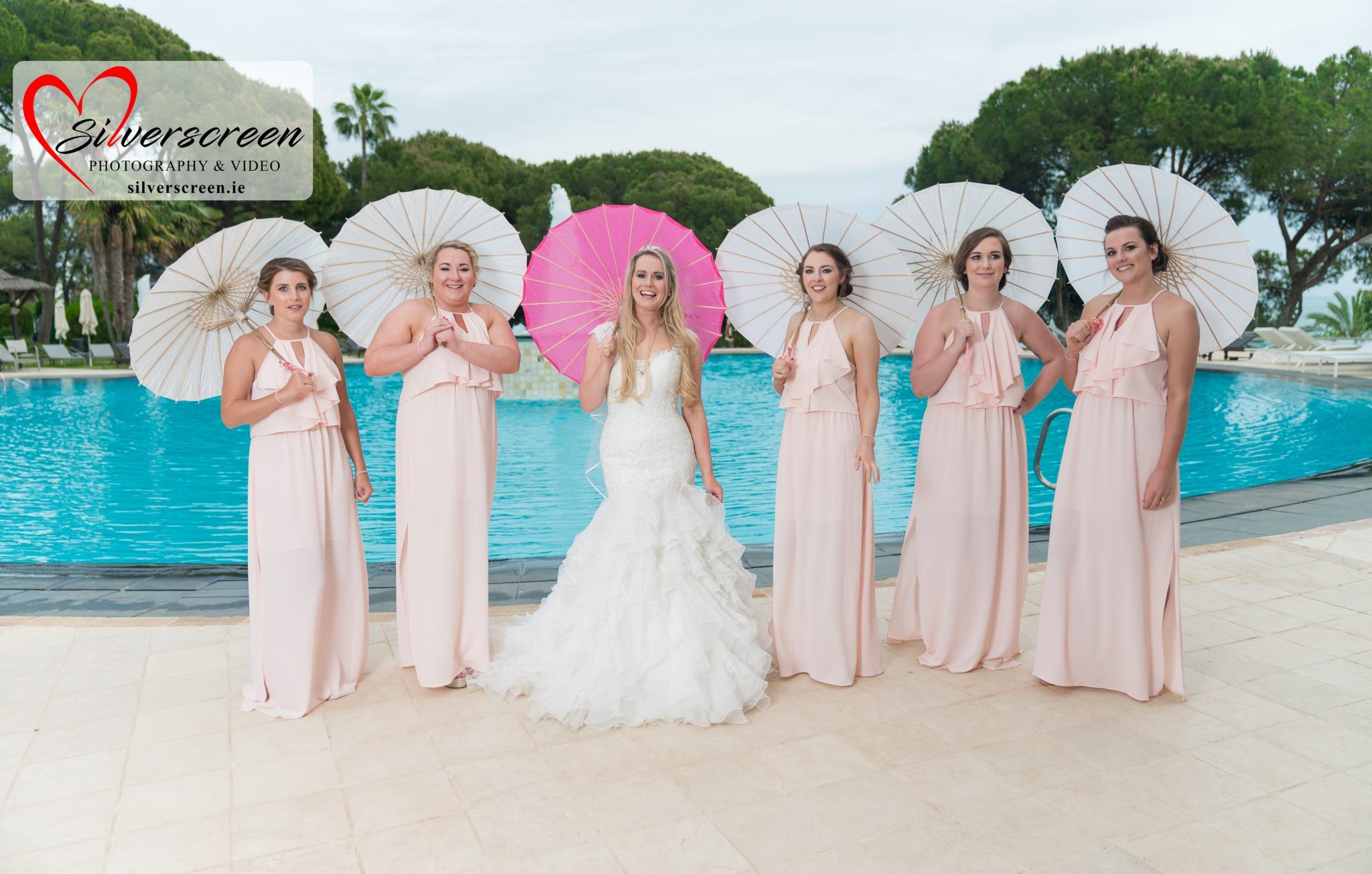 Bride and girls - Gran Melia Don Pepe Pool Wedding